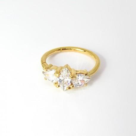 Piercing de Orelha Conch Argolinha Clicker Set W. Cubic - 100% Aço - PVD Gold - 6ORE588