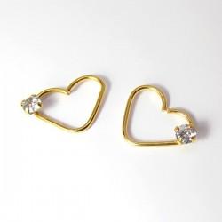 Piercing de Orelha - Aço Cirúrgico PVD Gold - Coração - Daith - 6ORE594