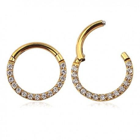 Piercing Daith ou Septo - Argolinha Clicker em Aço ou Titânio - PVD Gold com Zircônias - 6ORE600