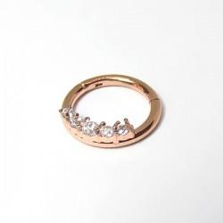 Piercing Daith ou Septo - Argolinha Clicker em Aço PVD Rosé com Zircônias - 6ORE605