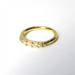 Piercing de Orelha Argolinha Clicker Meia Aliança - PVD Gold - 6ORE607