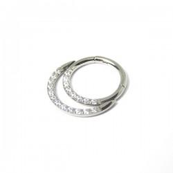 Piercing Daith ou Septo Argolinha Clicker Meia Lua Toda Cravejada - 100% em Titânio - 6ORE615