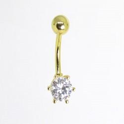Piercing para Umbigo - Dourado com Cristal - 1DOU142