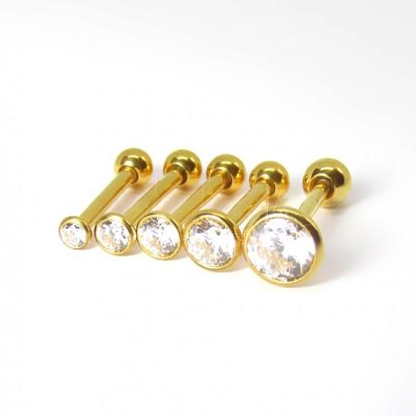 Piercing de Tragus em Titânio PVD Gold Ponto de Luz SWAROVSKI Via Láctea- 7TRG91