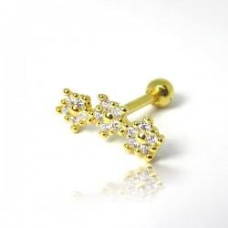 Piercing de Orelha Dourado - Cluster Mini Florzinhas com Zircônias - 6ORE624
