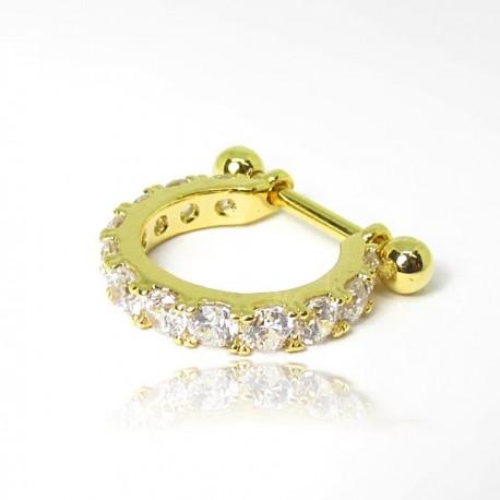 Piercing de Orelha Dourado - Conch - Cravejado em Zircônias - 6ORE627