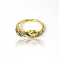 Piercing de Orelha - Serpente Conch Clicker em Aço PVD Gold - 6ORE635