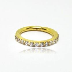 Piercing de Orelha Argolinha Dourada em Aço com Cristais - 6ORE508