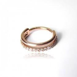 Piercing de Orelha Conch Argolinha Clicker Double SW - 100% Aço PVD Rosé- 6ORE610
