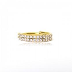 Piercing Helix ou Conch Argolinha Dupla Cravejada - 100% em Titânio PVD Gold - 6ORE640