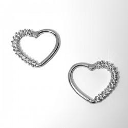 Piercing para Orelha Daith Coração em Prata com Zircônias - 6ORE650