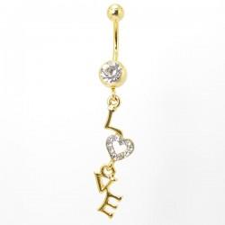 Piercing de Umbigo Dourado LOVE com Cristais - 1DIV151