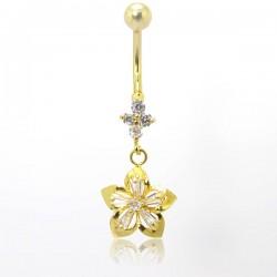 Piercing de Umbigo Dourado - Flor com Cristal - 1FLO89