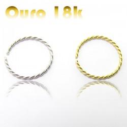 Piercing de Nariz - Argolinha Trançada (Náutica) Ouro 18k - 2NOU22