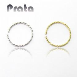 Piercing de Nariz - Delicada Argolinha Trançada (Náutica) em Prata - 2NAA72