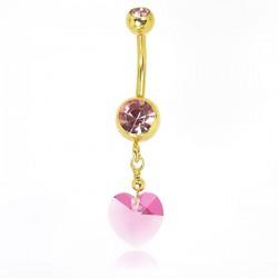 Piercing de Umbigo – Dourado – Coração estilo Swarovski - 1DOU145