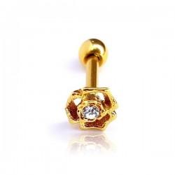 Piercing Labret para Orelha - 100% Aço Cirúrgico - Florzinha com Cristal - 6ORE670