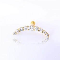 Piercing Cluster Zircônia - 100% Aço - PVD Gold - 6ORE671
