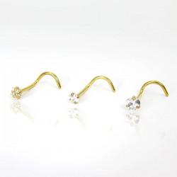 Piercings de Nariz - Dourado - PVD Gold - Zircônia - Aço Cirúrgico - 2NAA75