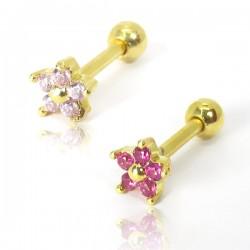 Piercing de Orelha - Dourado - Mini Florzinha Rosa ou Pink - 6ORE675
