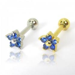 Piercing de Orelha em Aço Cirúrgico - Dourado - Mini Florzinha Azul - 6ORE676