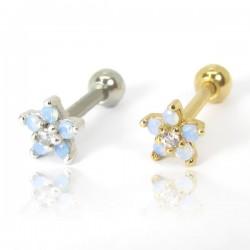 Piercing de Orelha - Mini Florzinha Azul com Pedra Opala - Prateado ou Banhado a Ouro - 6ORE680