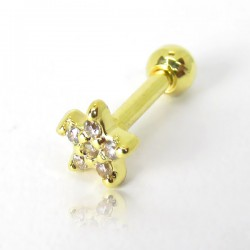 Piercing de Orelha em Aço Cirúrgico - Dourado - Mini Florzinha Branca em Zircônias - 6ORE683
