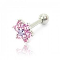 Piercing de Orelha em Aço Cirúrgico - Florzinha Zircônias Rosas - 6ORE684