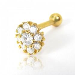 Piercing de Orelha em Aço Cirúrgico - Dourado - Flor Branca em Zircônias - 6ORE685