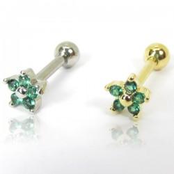 Piercing de Orelha em Aço Cirúrgico - Dourado - Mini Florzinha Verde - 6ORE687