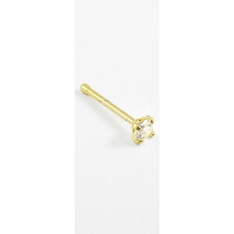 Piercings de Nariz - Dourado - Cristal Branco - Aço Cirúrgico - 2NAA17