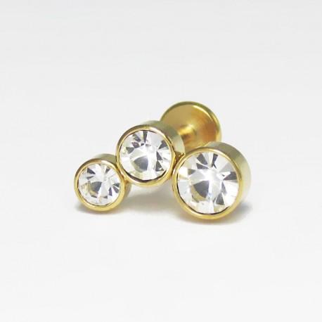 Piercing de Tragus Cluster Dourado - 7TRG31